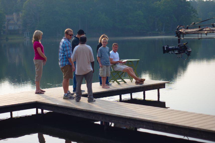 The family on the dock getting ready to shoot