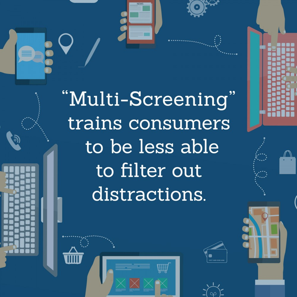 Multi-Screening trains consumers to be less able to filter out distractions.