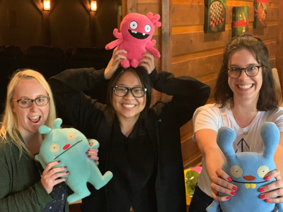 Jessie, Thy and Erin with Ugly Dolls on Retreat